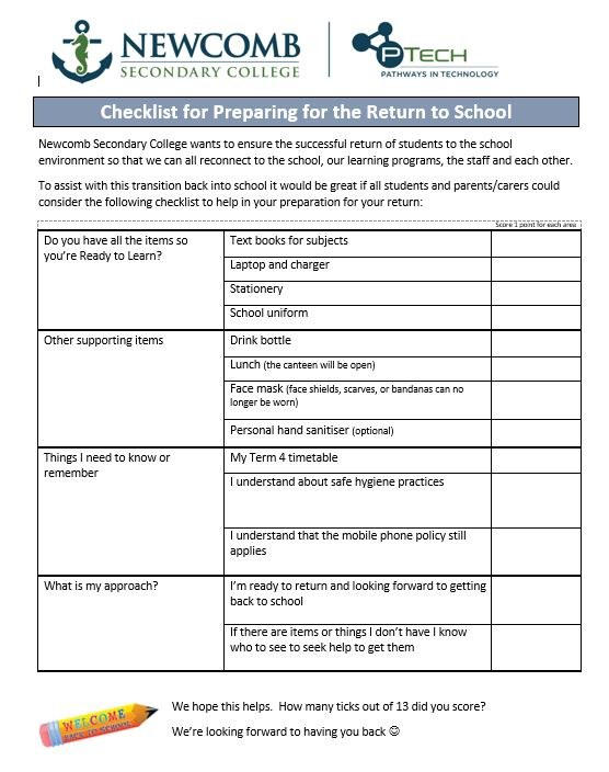 Checklist for returning to school